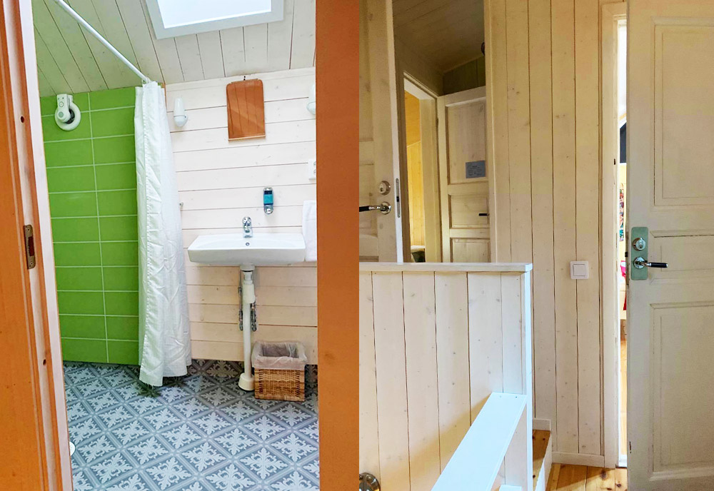 Toalett och korridor med vita dörrar